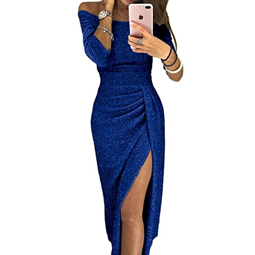 b41214fe Happy Sailed Womens Long Sleeve Ruched Thigh Slit Off Shoulder Dress