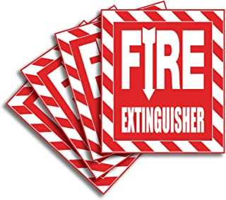 Fire Extinguisher Signs Stickers – 4 Pack 6x7 Inch – Premium Self-Adhesive Vinyl, Laminated for Ultimate UV, Weather, Scratch, Water and Fade Resistance, Indoor and Outdoor