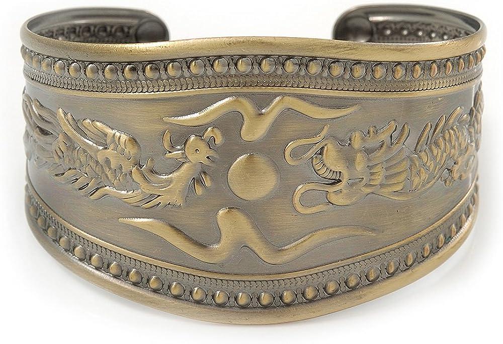 Avalaya Brushed Gun Metal 'Phoenix and Dragon' Silhouette Cuff Bracelet - up to 20cm
