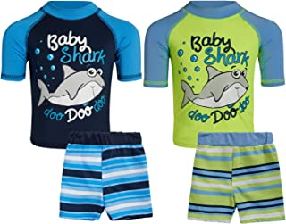 Sweet and Soft Boys 4-Piece Rash Guard and Trunk Swimsuit Set – Short Sleeve (Infant/Toddler/Big Kid)