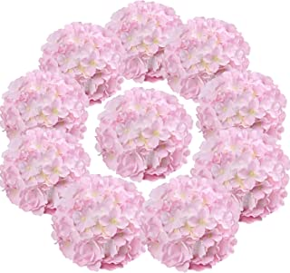 Flojery Silk Hydrangea Heads Artificial Flowers Heads with Stems for Home Wedding Decor,Pack of 10 (Pink)