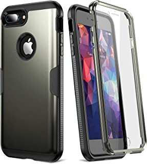 YOUMAKER Case for iPhone 8 Plus & iPhone 7 Plus, Full Body Rugged with Built-in Screen Protector Heavy Duty Protection Slim Fit Shockproof Cover for Apple iPhone 8 Plus (2017) 5.5 Inch - Gunmetal