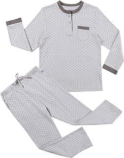 Irevial Pijama niña Invierno, Pijama de 100% Algodon para 6-16 años,Cálido Manga Larga Camiseta y pantalón Largo Ropa de D...