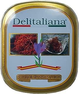 Delitaliana Spanish Saffron Tin 2-Gram, All Red Coupe Quality Threads Category I, Pure Saffron Filaments
