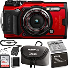 Olympus Tough TG-6 Digital Camera (Red) with Olympus Tough Neoprene Case (Grey) and Starter Kit: Includes- x1 Ultimaxx Li-90B Replacement Battery for Olympus Tough TG-6 Cameras, SanDisk Ultra 128GB