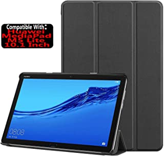 TASLAR Ultra Slim Tri-Fold Lightweight PU Leather Smart-Shell Stand Flip Case Cover Protective Pouch Magnetic Lock with Auto Wake/Sleep Compatible with Huawei MediaPad M5 Lite 10.1 Inch (Black)