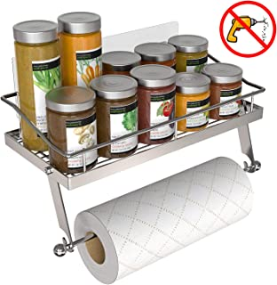 GeekDigg Adhesive Paper Towel Holder Wall Mounted for Kitchen 13 in, Bathroom Tissue Roll Hanger with Storage Shelf, Stainless Steel, Wall Mounted Sticky Spice Rack/Shower Caddy (New Version)