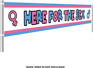 Colormoon Gender Reveal Banner, Large Here for The Sex Banner, Gender Reveal Party Supplies Decorations (9.8 x 1.5 feet)