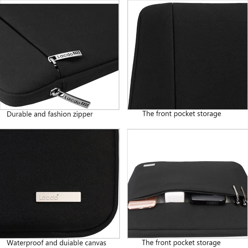 Lacdo 13.3 inch Laptop Sleeve Computer Case for Old 13 inch MacBook Air 2010-2017 13.5 Surface Book 2 1 // Laptop 3 2 1 Old 13-inch MacBook Pro 2012-2015 ASUS HP Dell Acer Chromebook Bag Black