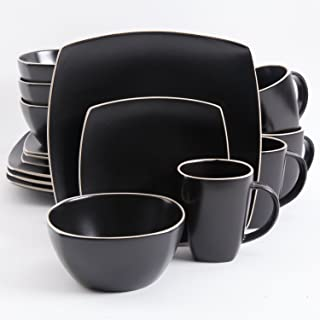 Gibson 102261.16RM Soho Lounge Square 16-Piece Dinnerware Set Service of 4, Stoneware, Black Matte