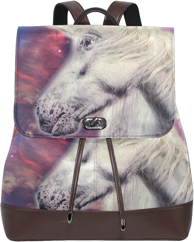 Imobaby Fashion Galaxy Unicorn PU Leather Women Girls Ladies Backpack Travel bag,Multi121