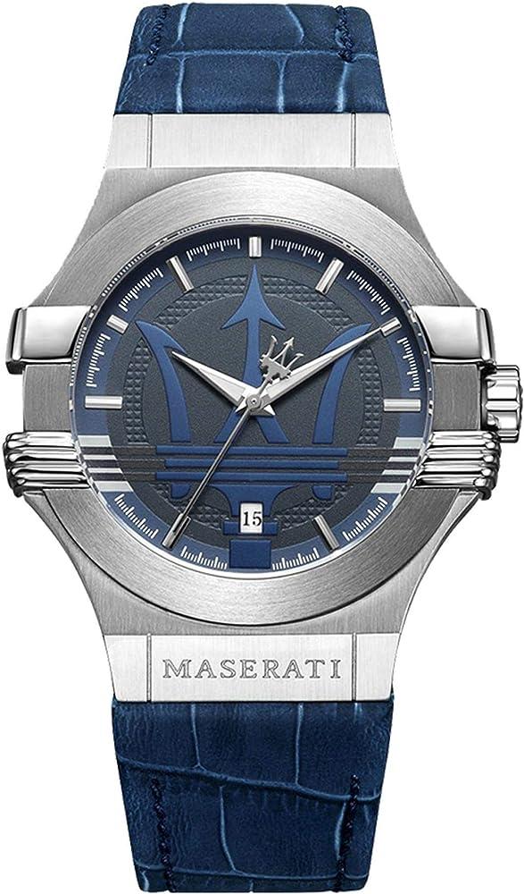 Maserati orologio da uomo, collezione potenza in acciaio e cuoio 8033288715030