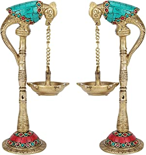 PARIJAT HANDICRAFT Pair of Bird Brass Diya for Puja Room Large Size Parrot Oil Diya Hanging in Chain from Beak in Colored ...