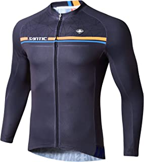 Santic Cycling Jersey Men's Bike Jersey Long Sleeve Bike Shirts Full Zip Bicycle Jacket with Pockets