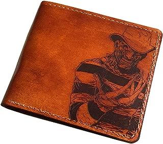 Halloween Freddy Krueger genuine leather handmade men bifold horror characters wallet Gift - 1P