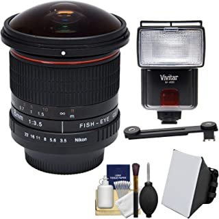Vivitar 8mm f/3.5 Fisheye Lens with Flash + Soft Box + Cleaning Kit for Nikon Digital SLR Cameras