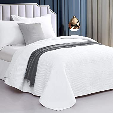 """CHIXIN Cotton Quilt Twin Size, White Trendy Modern Quilted Bedspread Lightweight Coverlet, 62""""x86"""" Reversible Bedding"""
