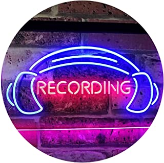 Recording Headphone On The Air Studio Dual Color LED Neon Sign Blue & Red 300 x 210mm st6s32-i2206-br