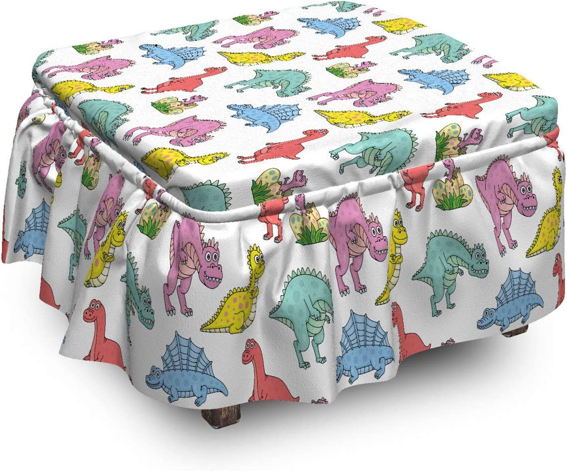 Lunarable Dinosaur Ottoman 70% Ranking TOP20 OFF Outlet Cover 2 Colorful Dinos Prehistoric