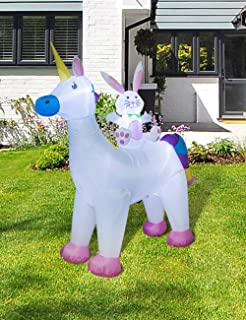 AJY 6 Feet Easter Bunny Riding Unicorn Inflatable,Holiday Lighted Blew-up Yard and Lawn Decoration, 6ft Tall Outdoor and Indoor Decoration