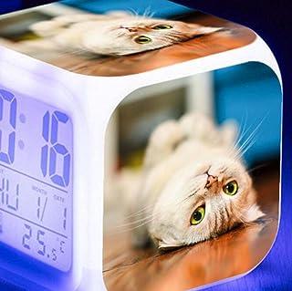 Husdjur digitala väckarklockor, Led Night Glowing Cube LCD-klocka med lätta barn vaknar sängklocka Xmas present till pojke