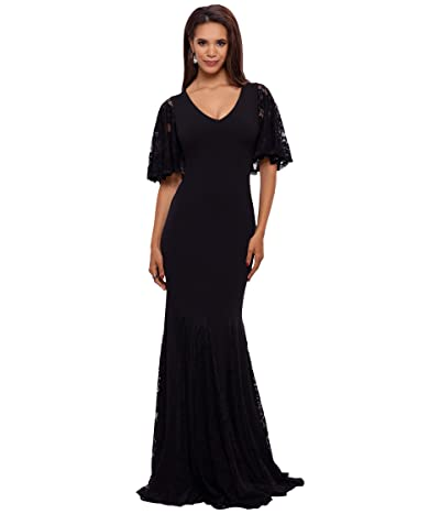 Betsy & Adam Long V-Neck Crepe Gown with Lace Godets