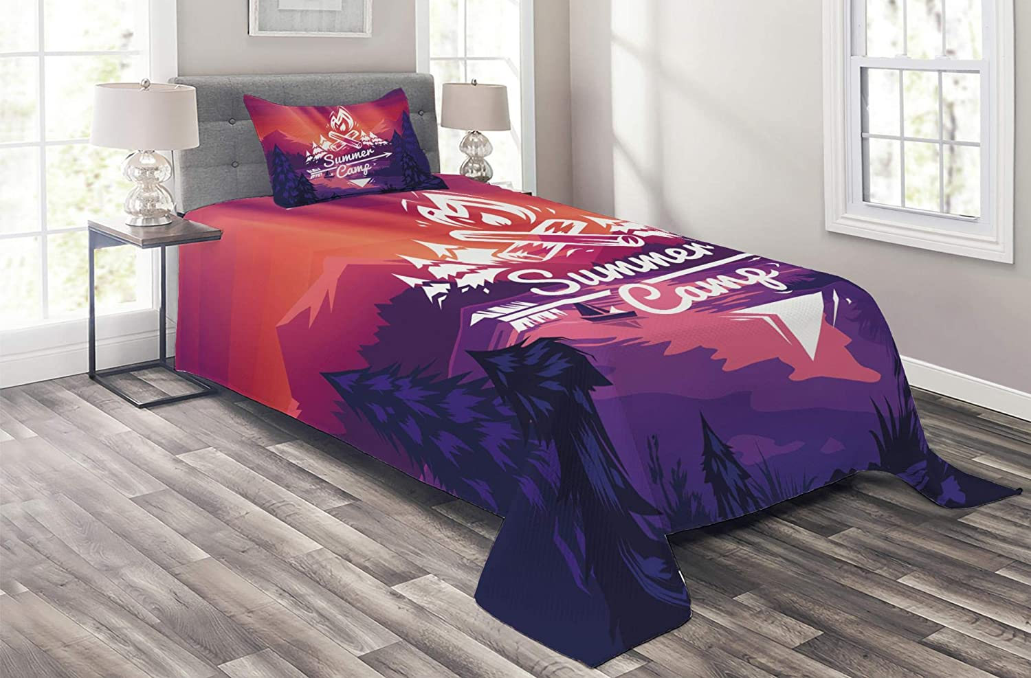 Lunarable Camper Coverlet Retro Poster Typogr Save money Challenge the lowest price of Japan Style Camp Summer