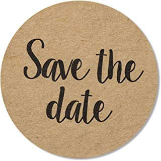 """80-Pack, 2"""" Kraft Save The Date Stickers, Rustic Save The Date Labels, Envelope Seals"""