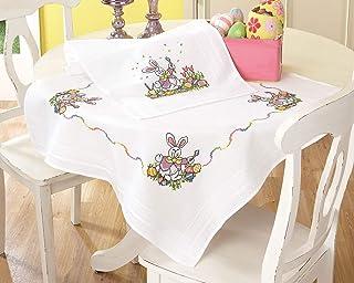 Kamaca Stickpackung Tischdecke Easter Kreuzstich vorgezeichnet aus Baumwolle komplettes Stickset mit Stickvorlage Ostern Mitteldecke 80x80 cm
