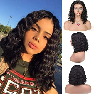 Bob Curly Human Hair Wig Lace Front Wigs Short Deep Wave Curly Hair For Black Woman 150% Density Pre Plucked with Baby Hair Natural Hairline 14 Inch