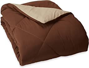 AmazonBasics Reversible Microfiber Comforter - Twin/Twin Extra-Long, Chocolate