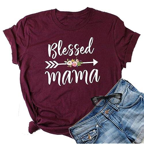 a406dad4172a2 NANYUAYA Women's Blessed Mama Heart Arrow Print Short Sleeve Casual T-Shirt  Tops Tees