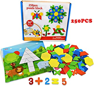 250 PCS Pattern Blocks Set Activity Cards Wooden Geometric Shape Puzzle Kindergarten Classic Educational Montessori Tangram Toys for Kids Ages 4-8 with 10 Double-Sided Jigsaw Cards