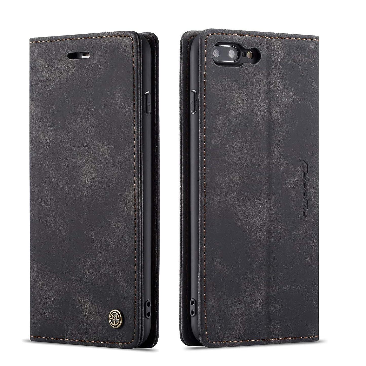 計画突き出す顔料QLTYPRI iPhone 7 8 ケース 手帳型 本革 高級レザー マグネット カード収納 全面保護 薄型 耐衝撃 横置き Qi充電対応 おしゃれ 人気 - ブラック