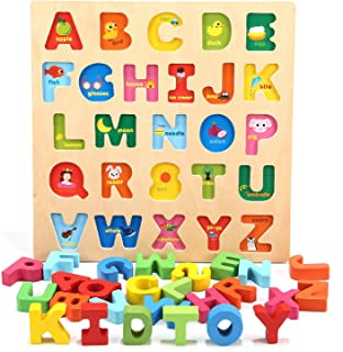 Jamohom Wooden 26 Letters Puzzles Educational Toys Baby Learning Blocks Uppercase Alphabet Jigsaw Game for 1 Year Old Boy and Girl Gifts