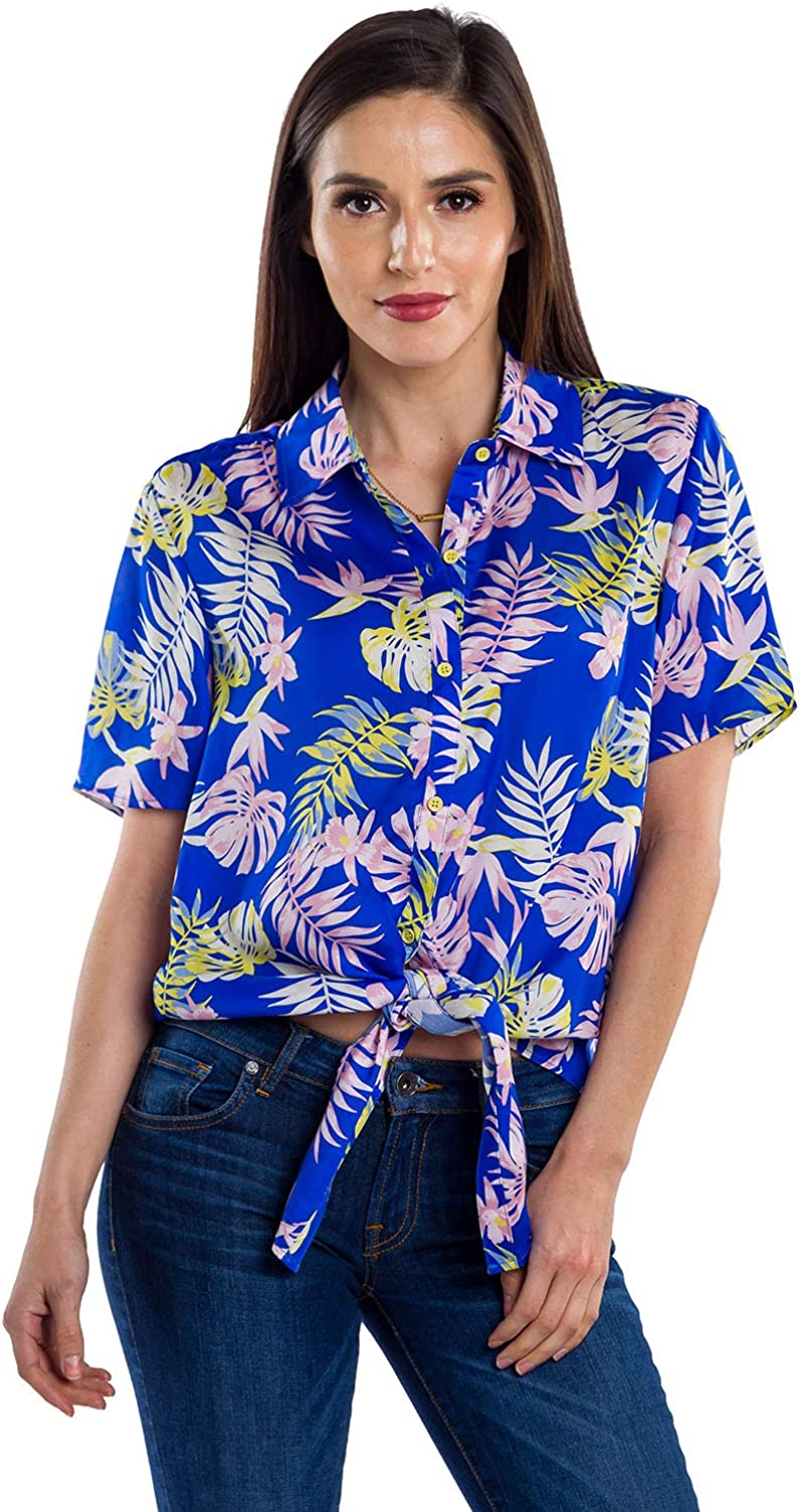Women's Challenge the lowest price of Japan ☆ Bright Hawaiian Be super welcome Shirt for Summer Front Tie Tropical - To