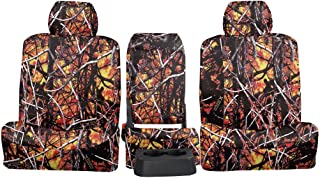Rear SEAT: ShearComfort Custom Moon Shine Seat Covers for Chevy Silverado (2007-2013) in Wildfire Camo Solid for 60/40 Split Back and Bottom w/Adjustable Headrests (Extended Cab)