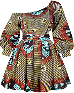 Women's Sexy One Shoulder Oblique Neck Short Dresses African Floral Print Dress