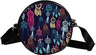 Yuzheng Runde Umhängetasche Bulldogge Schwarz Handtaschen mit Lederriemen für Damen 17cm