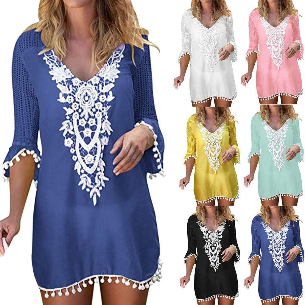 Wulofs Women Bikini Cover Up Tassel Lace Crochet Swimwear Pullover Summer Swimsuit Beachwear Dress