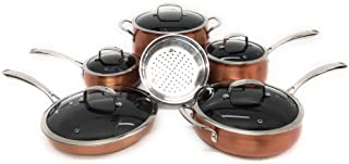 Belgique (High End Quality Home Cookware) 11 Piece Pot And Pan Sets - Types And Colors Vary (Belgique Copper Translucent)