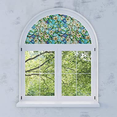 PROTINT WINDOWS Precut Orchid Decorative Arched Window Film, Self Static Adhesive Cling, 34 inches Diameter