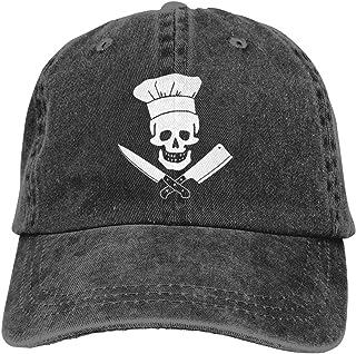 77644f5e934 Unisex Skull-Chef Cooking Skull Vintage Jeans Adjustable Baseball Cap Cotton  Denim Dad Hat
