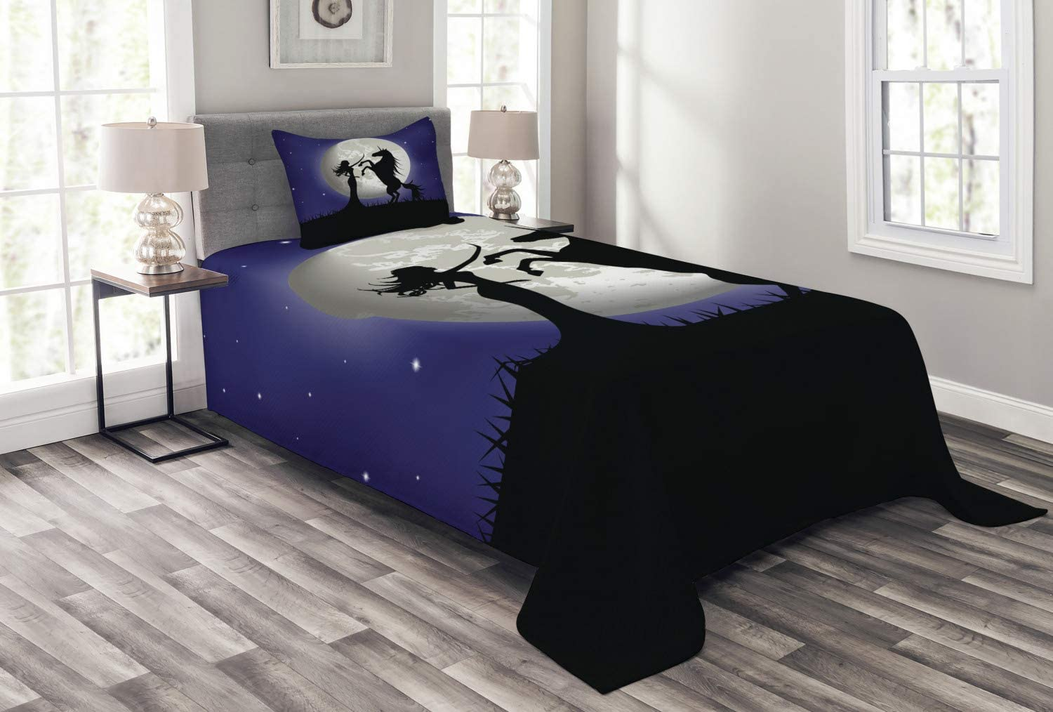 Ambesonne Horse Bedspread Silhouette and Long Ranking TOP15 of Rampant Purchase