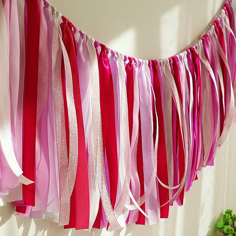 40 in x14 in, Red Ribbon Garlands Handmade Garland Hanging Decorations Preassembled Ribbon Tassel Garland Fabric Shabby Chic Banner for Wedding Baby Shower Birthday Party