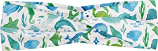 Lunarable Sea Animals Headband, Watercolor Sea Life Pattern Abstract Ocean Plants Animal Silhouettes and Anchor, Elastic a...