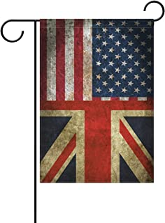 ALAZA Double Sided Vintage American Union Jack Friendship Combination A Memorial Day Polyester Garden Flag Banner 12 x 18 Inch for Outdoor Home Garden Flower Pot Decor