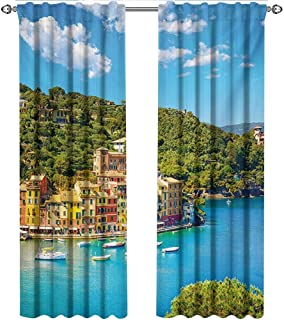 shenglv Italy, Curtains Darkening Blackout, Portofino Landmark Aerial Panoramic View Village and Yacht Little Bay Harbor, Curtains for Sliding Glass Door, W108 x L108 Inch, Blue Green Yellow