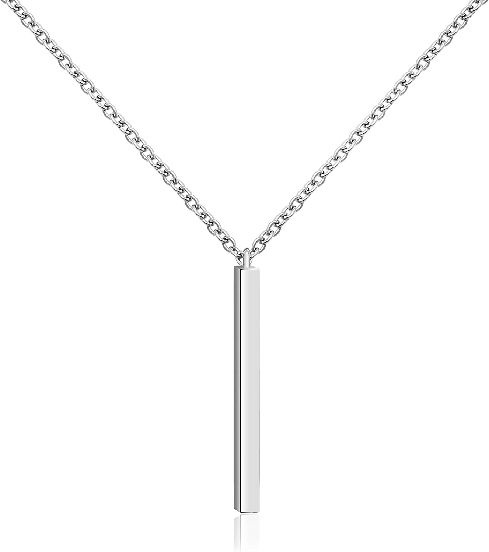 KristLand - Women 18k Rose Gold Color Plated Bar Pendant Necklace Choker Simple Design