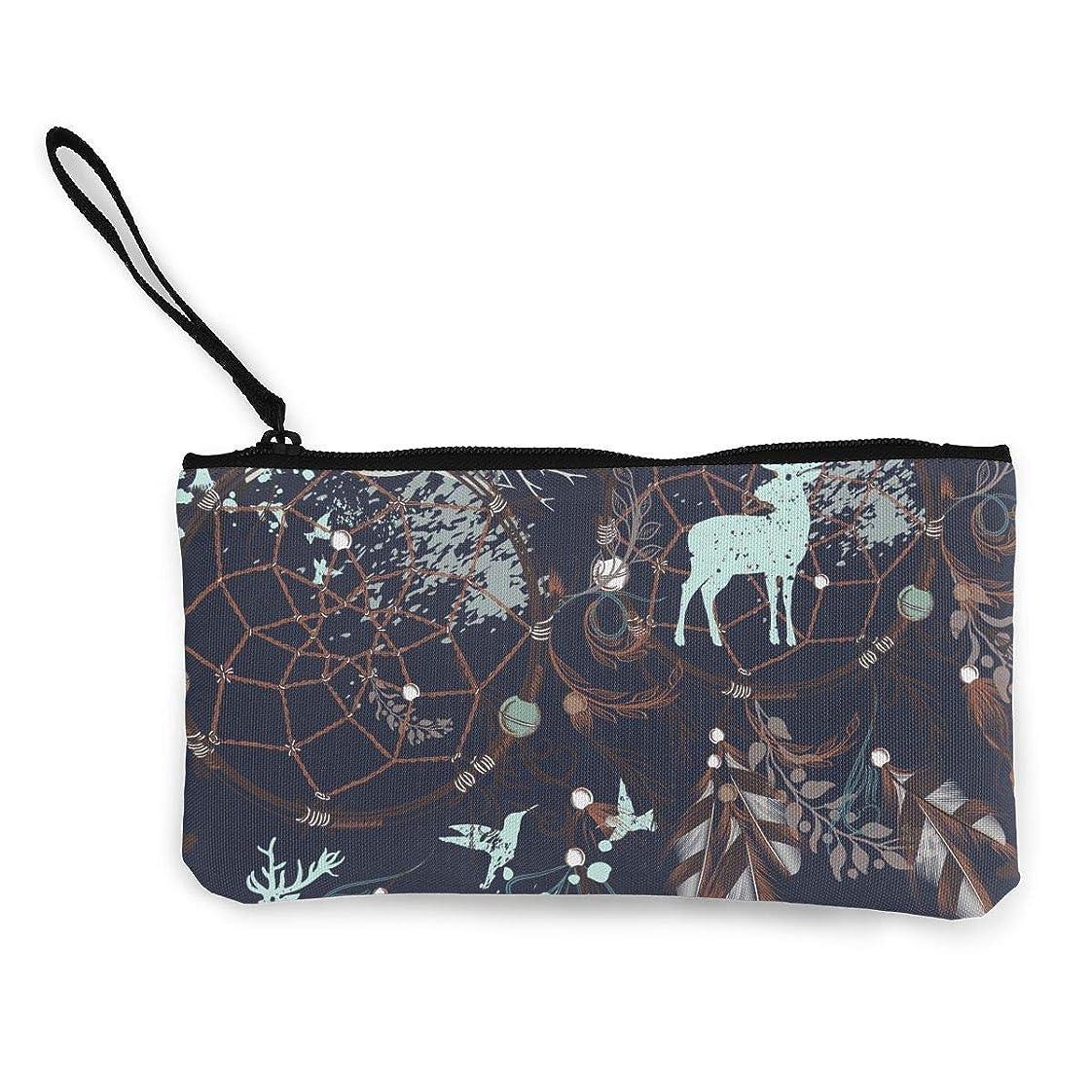 松の木手仕立て屋ErmiCo レディース 小銭入れ キャンバス財布 夜の森林 鹿 小遣い財布 財布 鍵 小物 充電器 収納 長財布 ファスナー付き 22×12cm